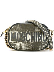 Moschino Logo Studded Crossbody Bag Black