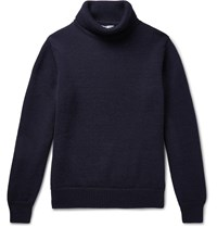 Connolly Goodwood Merino Wool Rollneck Sweater Blue