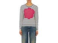 Comme Des Garcons Tricot Women's Floral And Striped Sweater Ivory Navy Pink Tan Ivory Navy Pink Tan