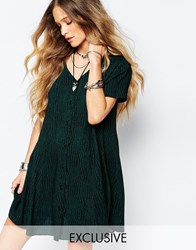 Reclaimed Vintage Button Front Tea Dress In Animal Print Green