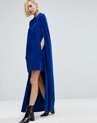 Asos White Mini Dress With Maxi Cape Cobalt Navy