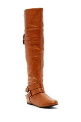 West Blvd Shoes Kinshasa Faux Leather Thigh High Boot Brown
