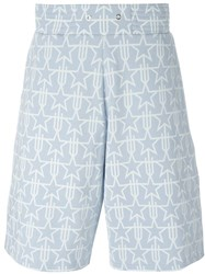 Givenchy Geometric Star Print Shorts Blue