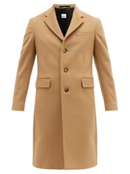 Burberry Single Breasted Tailored Wool Blend Coat Camel