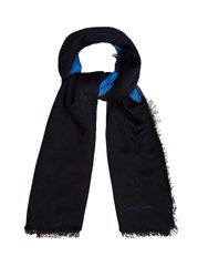 Bottega Veneta Bi Colour Wool Scarf Blue