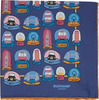 Duchamp London Snow Globe Pocket Square Blue