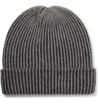 The Elder Statesman Watchman 2 Striped Ribbed Cashmere Beanie Gray