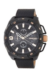 Diesel Men's Heavyweight Chronograph Leather Strap Watch Black Ip And Black