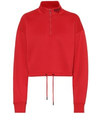 Kenzo Cropped Cotton Blend Sweatshirt Red