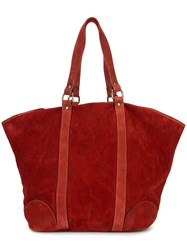 Guidi Oversized Tote Bag Men Horse Leather One Size Red