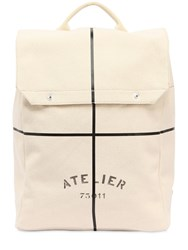 Maison Martin Margiela Atelier Printed Cotton Canvas Backpack Beige