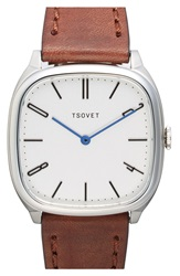Tsovet 'Jpt Tw35' Square Leather Strap Watch 35Mm Brown White