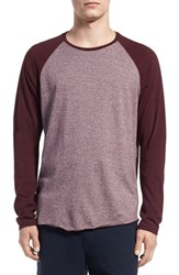 Men's Vince Raglan Sleeve Baseball T Shirt Claret