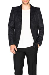 Alexander Mcqueen Pinstripe Blazer In Black Stripes