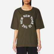 Dkny Women's Short Sleeve Logo Shirt With Side Slits And Drawcords Military White Green