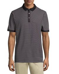 Callaway Short Sleeve Thin Stripe Polo Shirt Caviar Black