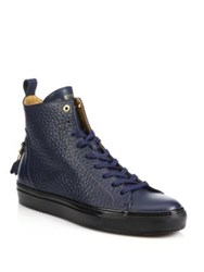 Android Alfa High Top Leather Sneakers Navy