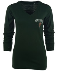 Royce Apparel Inc Women's Long Sleeve Marshall Thundering Herd V Neck T Shirt Green