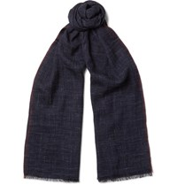 Brunello Cucinelli Checked Silk And Linen Blend Scarf Blue