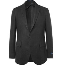 Polo Ralph Lauren Black Morgan Textured Linen Blazer Black