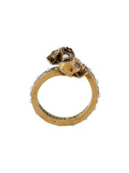 Alexander Mcqueen Twin Skull Ring Pearls Brass Glass Metallic