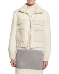 Diane Von Furstenberg Plush Zip Front Bomber Jacket Winter White