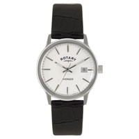 Rotary Gs02874 06 Men's Avenger Leather Strap Watch Black White