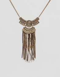 New Look Bronzed Tassel Festival Necklace Gold
