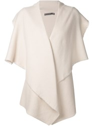 Denis Colomb Draped Sleeveless Cardigan White
