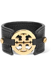 Tory Burch Textured Leather And Gold Tone Cuff Black