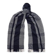 Incotex Fringed Checked Virgin Wool Blend Scarf Navy
