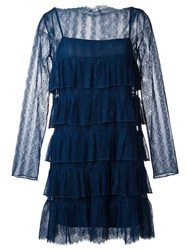 Twin Set Ruffled Lace Dress Blue