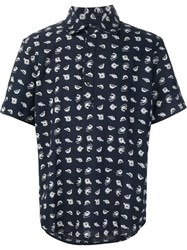 3X1 Fish Print Shortsleeved Shirt Blue