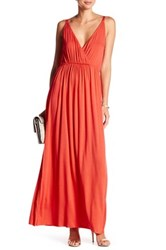 Clayton Andrea Surplice Neck Maxi Dress Red