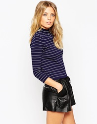 Asos Baby Rib Jumper With Turtle Neck In Stripe In Structured Knit Navyandwhite