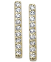 B. Brilliant Cubic Zirconia Pave Stick Earrings In 18K Gold Over Sterling Silver Yellow Gold