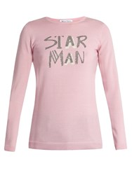 Bella Freud Star Man Wool Blend Sweater Light Pink
