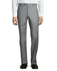 Neiman Marcus Flat Front Wool Sharkskin Pants Black White