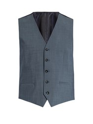 Dolce And Gabbana Contrast Panel Wool Blend Waistcoat Light Blue