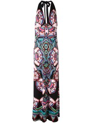 Roberto Cavalli Abstract Print Halterneck Dress