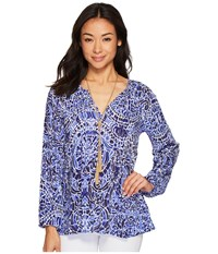 Lilly Pulitzer Willa Top Bright Navy Taverna Tile All Over Clothing Multi
