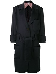 Thom Browne Navy Unilined Oversized Sack Trench Blue