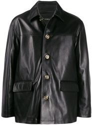 Versace Medusa Button Leather Coat 60