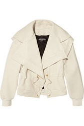 Balmain Leather Biker Jacket Ivory