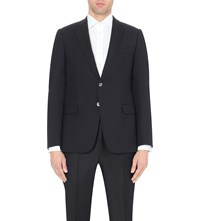 Armani Collezioni Single Breasted Wool Jacket Navy