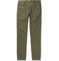 Incotex Slim Fit Stretch Cotton Twill Chinos Green