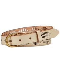 Fossil Diamond Stripe Perforated Belt Champagne