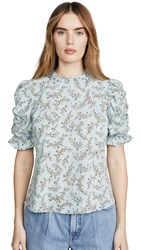 Moon River Ruched Sleeve Top Dusty Blue Floral
