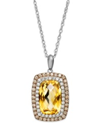 Macy's Sterling Silver Necklace Citrine 3 1 3 Ct. T.W. White Topaz 1 5 Ct. T.W. And Champagne Diamond 1 3 Ct. T.W. Rectangle Pendant Orange