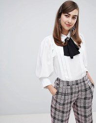 Sister Jane Structured Blouse With Pussybow And Bee Fastening White